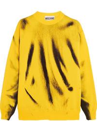 Jersey de lana estampado amarillo de Moschino