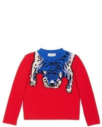 Jersey de lana estampado rojo de Gucci