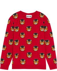 Jersey de lana estampado rojo de Moschino