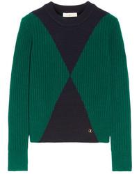 Jersey de lana estampado verde de Tory Burch