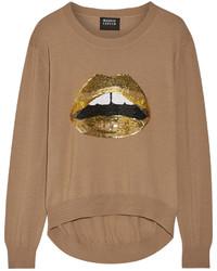 Jersey de lentejuelas con adornos marrón claro de Markus Lupfer