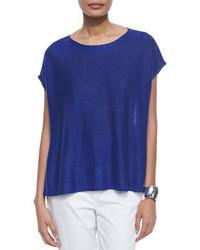 Jersey de manga corta azul de Eileen Fisher