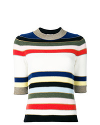 Jersey de manga corta de rayas horizontales blanco de Sonia Rykiel