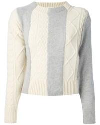 Jersey de ochos de rayas verticales blanco de Sacai