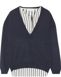 Jersey de pico con adornos azul marino de Brunello Cucinelli