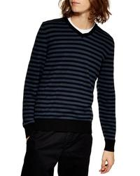 Jersey de pico de rayas horizontales azul marino