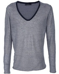 Jersey de pico de rayas horizontales en azul marino y blanco
