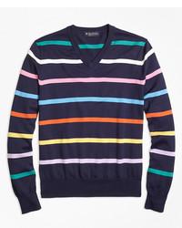 Jersey de pico de rayas horizontales en multicolor