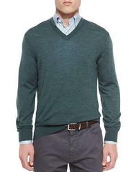 Jersey de pico en verde azulado de Ermenegildo Zegna