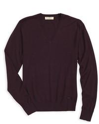 Jersey de pico morado oscuro de Burberry