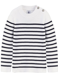 Jersey de rayas horizontales en blanco y azul marino
