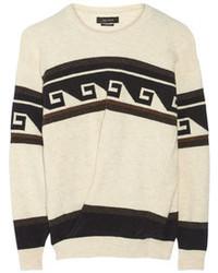 Jersey oversized con estampado geométrico en blanco y negro de Isabel Marant