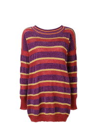 Jersey oversized de rayas horizontales en violeta de Twin-Set