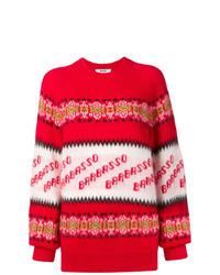 Jersey oversized de rayas horizontales rojo de MSGM