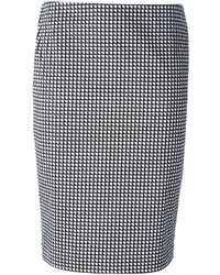 Jupe crayon géométrique noire et blanche Armani Jeans