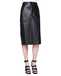 Jupe mi-longue en cuir noire Helmut Lang