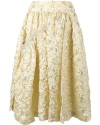 Jupe mi-longue plissée dorée Simone Rocha