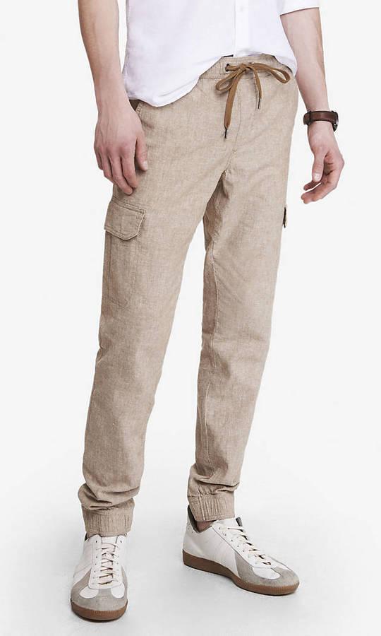 innovative design how to serch terrific value $69, Express Linen Cotton Cargo Jogger Pant
