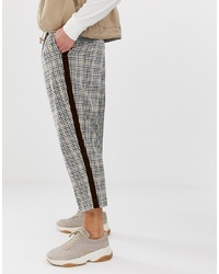 ASOS DESIGN Drop Crotch Tapered Smart Trouser In Check With Velvet