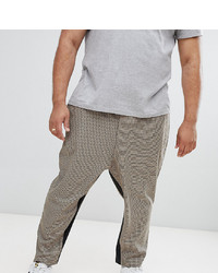 ASOS DESIGN Plus Drop Crotch Tapered Smart Trouser In Camel Micro Check With Insert Stripe