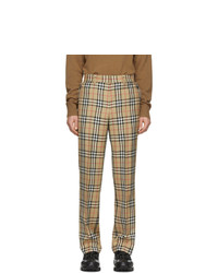 Burberry Beige Check Flap Tailored Trousers