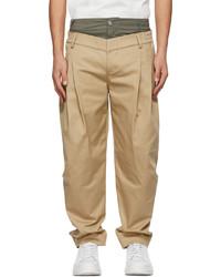 Feng Chen Wang Beige Khaki Double Waistband Trousers