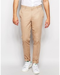 Asos Brand Skinny Smart Chino In Stone