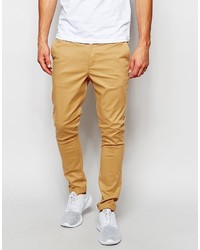 Asos Brand Super Skinny Chinos In Camel