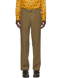 Dries Van Noten Brown Brushed Cotton Trousers