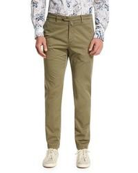 Kiton Flat Front Chino Trousers Khaki