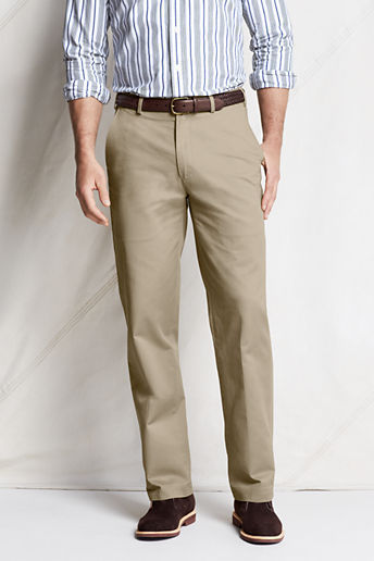 Lands' End Regular Plain Front Traditional Fit Original Chino Pants