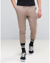 Asos Skinny Super Cropped Chinos In Light Brown