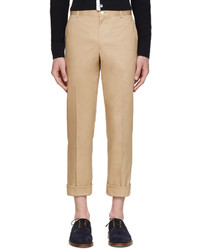 Thom Browne Tan Cotton Twill Trousers