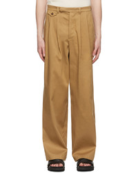 King & Tuckfield Tan Double Pleat Chino Trousers