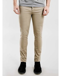 Topman Stone Stretch Skinny Chinos