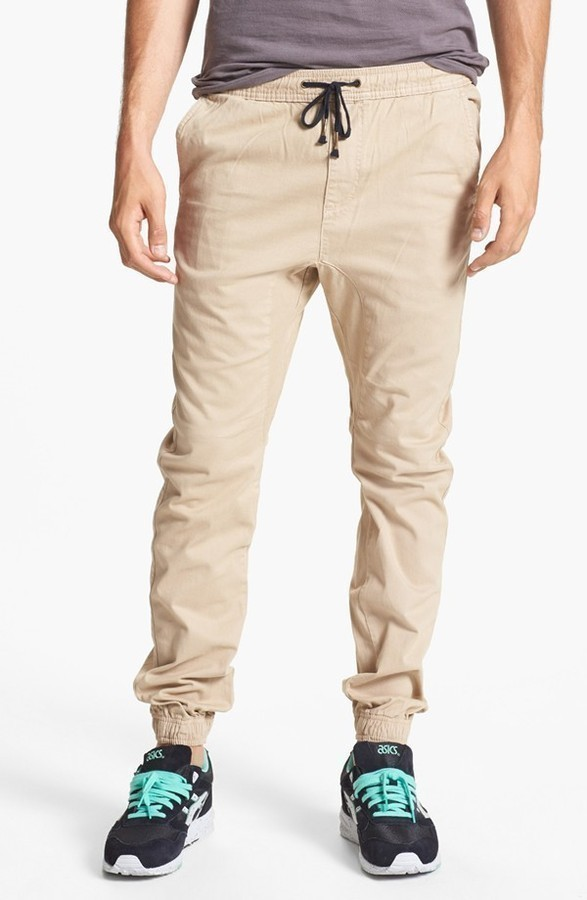 Khaki Chinos: Zanerobe Sureshot Slim Tapered Leg Jogger Chinos