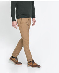 Zara Chinos With Faux Suede Detailing