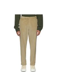 Deveaux New York Beige Wide Corduroy Trousers