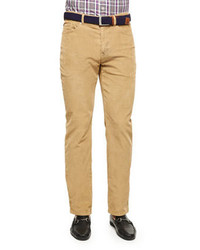 Peter Millar Nanoluxe Five Pocket Corduroy Pants Khaki