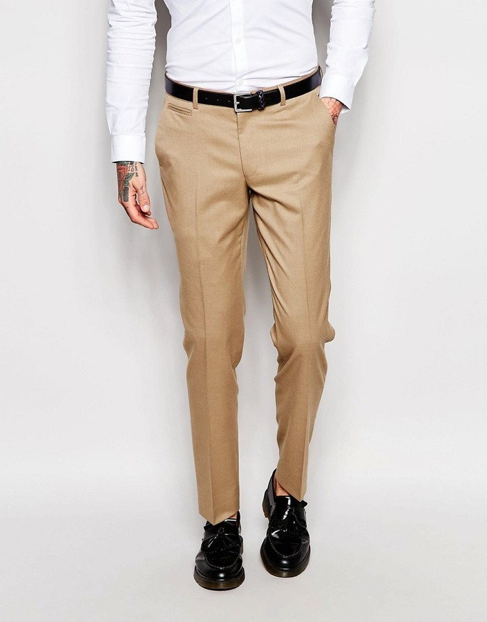 Asos Brand Skinny Suit Pants In Camel | Where to buy & how to wear