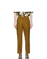 Dries Van Noten Brown Wool And Cotton Trousers