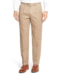 Nordstrom Men's Shop Classic Smartcare Supima Cotton Pleated Trousers