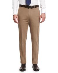 Ermenegildo Zegna Cotton Blend Flat Front Trousers Khaki