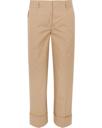 Prada Cropped Cotton Straight Leg Pants