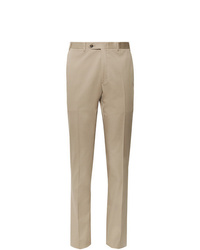 Canali Dark Beige Kei Slim Fit Tapered Stretch Cotton Twill Suit Trousers