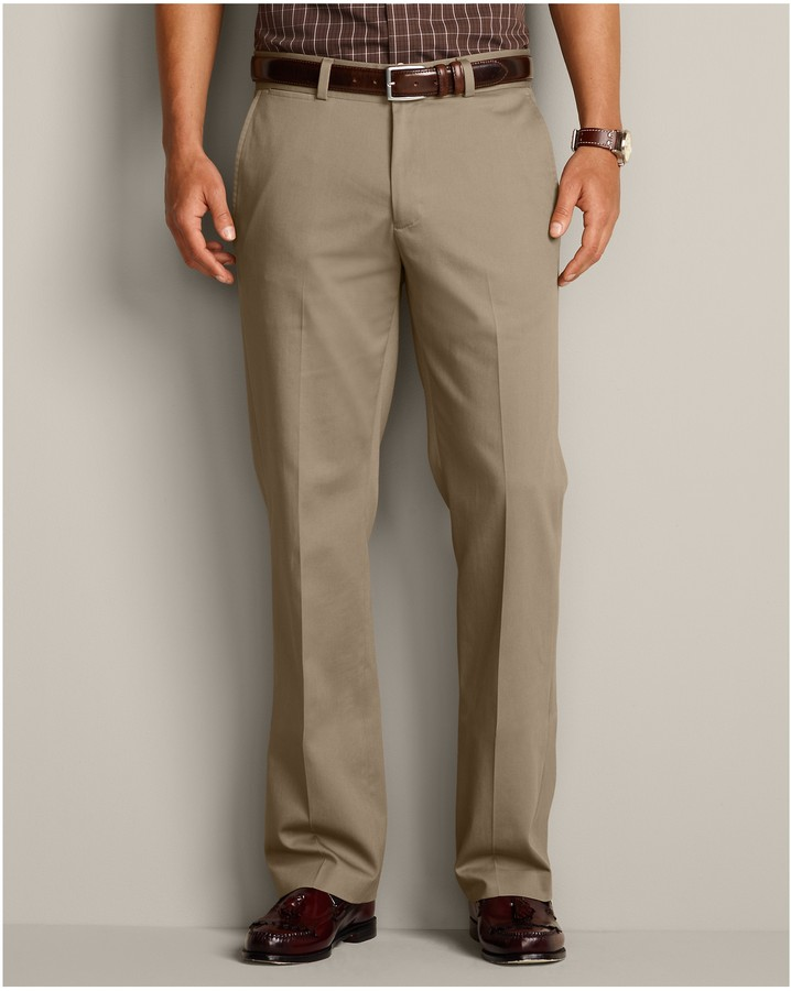 Eddie Bauer Performance Dress Flat Front Khaki Pants Classic Fit ...