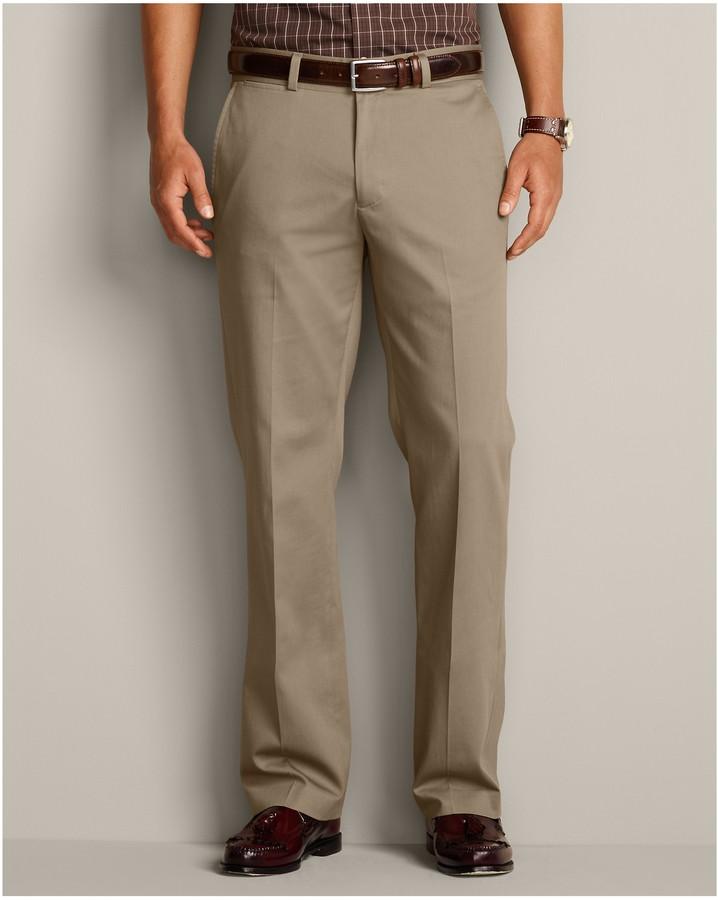 Eddie Bauer Performance Dress Flat Front Khaki Pants Classic Fit ...