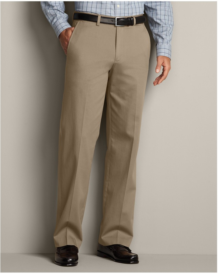 Eddie Bauer Performance Dress Flat Front Khaki Pants Relaxed Fit ...