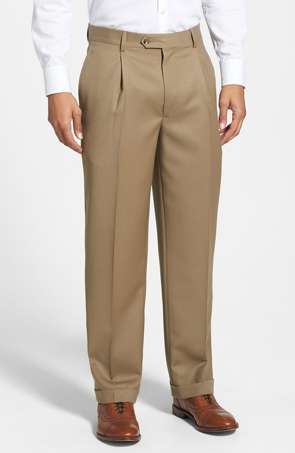 Nordstrom Pleated Wool Gabardine Trousers