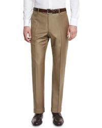 Zanella Parker Flat Front Super 150s Trousers Khaki
